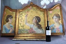 XL unusual ART Nouveau 1900 French Victorian Ladies Tryptich OIL panel Painting