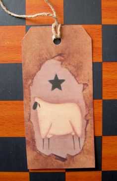 Primitive Country Hang Tag/Gift tag/Craft tag Primitive Wooly Sheep 12 Tags Rectangle on Etsy, $4.99