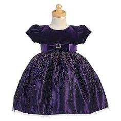 Girls Purple Velvet Bodice Sparkle Tulle Christmas Dress