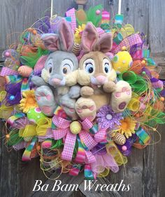 Easter Wreath, Thumper Wreath, Bunny Wreath, Thumper and Miss Bunny, Deluxe Easter Wreath by BaBamWreaths on Etsy https://www.etsy.com/listing/269884554/easter-wreath-thumper-wreath-bunny