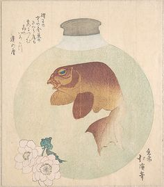Gold-Fish in a Glass Bottle  Totoya Hokkei  (Japanese, 1780–1850)  Period: Edo period (1615–1868) Date: 19th century Culture: Japan Medium: Polychrome woodblock print (surimono); ink and color on paper