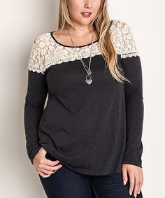 Look what I found on #zulily! Gray Flower-Lace Top - Plus #zulilyfinds