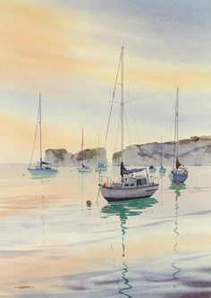 "Oliver Pyle ~ ""First Light Studland"" ~ Watercolor"