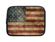 Laptop Sleeve, Laptop Case, Laptop Bag Vintage American Flag