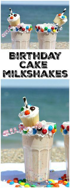 Easy Birthday Cake Milkshakes recipe : fun recipe for birthday celebrations!  from RecipeGirl.com