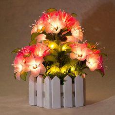 Handmade Nylon Flowers Lighting Night Romantic