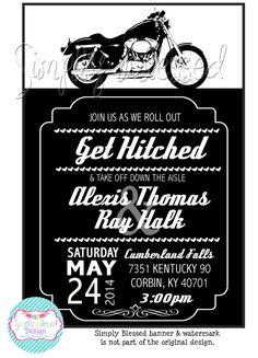 150 Motorcycle Wedding Invitations Rsvp Cards Themed Weddings