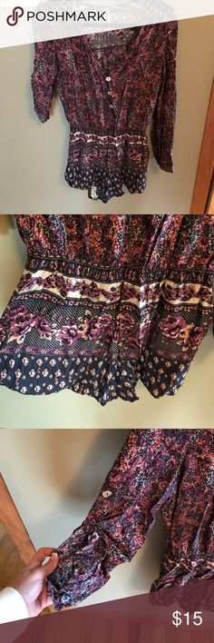 Floral Long Sleeve Romper Sleeves can be long or buttoned up, buttons on front, worn once Other