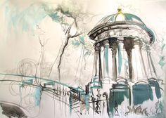 St Bernards Well, Water of Leith, Stockbridge, Edinburgh Acrylic and Ink on paper 2015