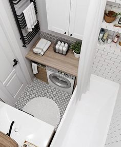 small bathroom Here are tips from us, so hopefully you watched this section 35 Simple amp; Clean Small Bathroom Ideas On A Budget (Here some tips too, Dont miss it! Dont be shy to have a small bathroom on budget. That was unique and less money Laundry In Bathroom, Bright Bathroom, House Bathroom, Bathroom Interior Design, Tiny House Bathroom, House Interior, Bathroom Decor, Small Bathroom Ideas On A Budget, Living Room Designs