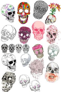 its hard to tell here but the 6th skull is made out of a tree, the 8th out of flowers, the 14th out of cats, the 17th out of butterflies, and the 19th out of shells. you can see in better quality if you click on it.