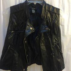 Paper tee black faux leather vest Black zippered faux leather vest from paper tee sz large NWOT Paper tee Jackets & Coats Vests