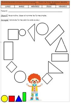 Risultati immagini per carnaval_activite_maternelle Preschool Circus, Senses Preschool, Numbers Preschool, Free Preschool, Preschool Printables, Kindergarten Worksheets, Kids Learning Activities, Preschool Activities, Teaching Shapes