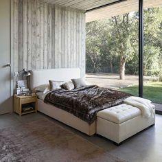 Lit 140 x 190 cm en bois et tissu beige