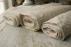 """A pinner writes: """"Wonderful washed vintage grain sack material for upholstery projects with a vintage, European flair! ~ www.textiletrunk.com"""""""