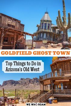 Explore one of Arizona's most scenic and charming ghost towns known as Goldfield Ghost Town. Located below the stunning Superstition Mountains. Ghost Town Movie, Ghost Town Band, Ghost Towns In Colorado, Arizona Ghost Towns, Nevada Ghost Towns, Arizona Road Trip, Arizona Travel, Goldfield Ghost Town, Old West Town