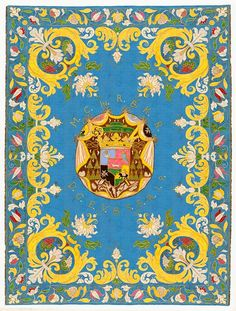 Reconstruction of silk wall hanging with coat of arms of Michał Stefan Radziejowski by Georg Albert Lange in Gdańsk, 1683 (PD-art/old), Skarbiec katedry w Łowiczu