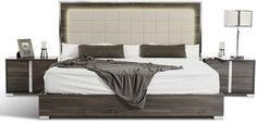 Modrest San Marino Collection VGACSANMARINO-BED-GRY-EK King Size Platform Bed with Stainless Steel Framed Headboard Tufted Eco-Leather Upholstery with LED Lighting and Solid Melamine Wood Platform in Grey