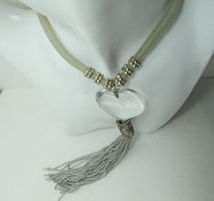 CADORO 1970s80s Lucite Heart Tassle Necklace by KittyCatShop, $12.99