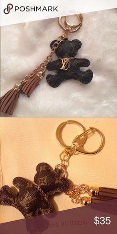 Louis Vuitton monogrammed teddy bear purse charm Just too cute! Lv monogrammed teddy bear purse or key charm 1 inch long with brown tassels! Louis Vuitton Accessories Key & Card Holders
