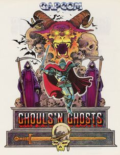 The Arcade Flyer Archive - Video Game Flyers: Ghouls 'N Ghosts, Capcom Vintage Video Games, Retro Video Games, Vintage Games, Video Game Art, Retro Games, Nintendo, Game Design, Arcade Retro, Bartop Arcade