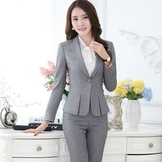 Suits for Women Business Suits for Work Wear Sets Gray Blazer Ladies ...
