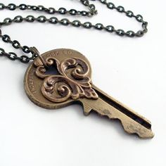 Recycled Key Pendant Past Secrets Key by TrashAndTrinkets, $32.00