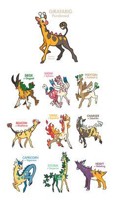 Girafarig Breeding Variants by oxboxer.deviantart.com on @DeviantArt