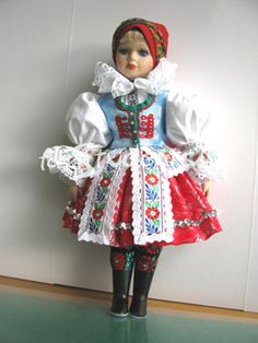 Moravia Czech Porcelain Doll with Ethnic Costumes - Region Banov 40 cm NEW Folk Costume, Costumes, World Thinking Day, Colourful Outfits, Colorful Clothes, Hand Puppets, Red Riding Hood, Beautiful Patterns, Czech Republic