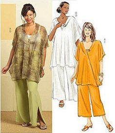 Plus Size TUNIC & PANTS Sewing Pattern - Women's Very Loose Fitting Tunics OOP