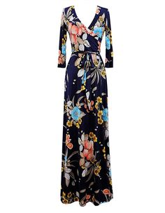 Kranda® Women's Paris Bohemian 3/4 Sleeve Faux Wrap Maxi Dress (Small, Black)