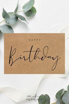Simple Birthday Cards, Birthday Card Sayings, Happy Birthday Greetings, Birthday Wishes, Calligraphy Birthday Card, Calligraphy Cards, Handlettering Happy Birthday, Karten Diy, Birthday Scrapbook