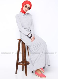 Robe Sport - Gris - Robe - Modanisa