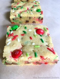 Soft M&M Christmas Cookie Bars