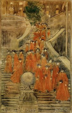 """""""The Spanish Steps,"""" Maurice Prendergast, ca. 1898-1899, Monotype on paper, 11.69 x 7.5"""", Cleveland Museum of Art."""
