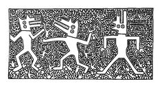 Free coloring page coloring-difficult-haring. Haring image to print and color: many small details !