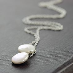 Sterling Silver Pearl Lariat Necklace June Birthstone by aubepine
