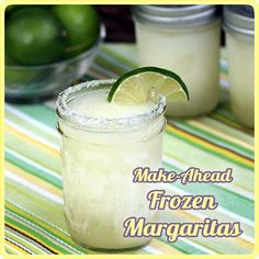 Make-Ahead Frozen Margaritas - blended, frozen in mason jars, ready to serve. Love having these ready-made in my freezer for parties, last-minute guests, and late night cravings!