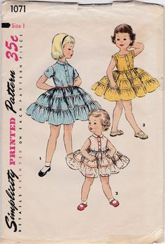 Items similar to Pretty Little Girls Dress Tiered Skirt Square Neckline Sleeveless Party Size 1 Breast 20 Vintage Sewing Pattern Simplicity 1071 Complete on Etsy Patron Simplicity, Simplicity Patterns, Sewing Patterns For Kids, Vintage Sewing Patterns, Clothes Patterns, Dress Patterns, Vintage Girls, Vintage Outfits, Vintage Clothing