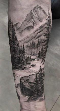 Landscape tattoo sleeve forests tat super ideas – tattoos sleeve - Famous Last Words Forest Tattoo Sleeve, Nature Tattoo Sleeve, Forest Tattoos, Sleeve Tattoos, Mountain Sleeve Tattoo, Tree Tattoo Sleeves, Tree Tattoo Men, Wolf Tattoo Sleeve, Tattoo Nature
