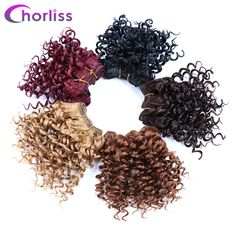 "Chorliss 8"" Afro Kinky Curly Hair Weaving Synthetic Hair Extensions Crochet Hair Weft Black 105g per lot 3pcs/lot"