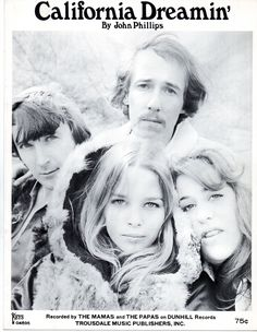 "1966 sheet music for ""California Dreamin',"" sung by The Mamas and The Papas"