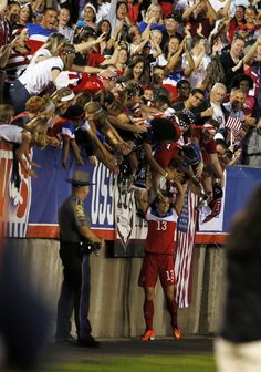 Alex Morgan celebrating with fans. (David Butler II/USA Today Sports)