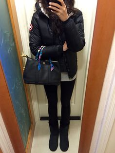 Canada Goose down sale price - UNIQLO red tunic T-shirt, H&M leggings, Canada Goose Camp Hoody ...