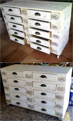 We love to show the ideas that increases the storage space in the home due to which we try to gather more and more storage ideas that can be created with the wooden pallets. So, here you can see an idea of creating chest of drawers with the smooth surface to put the decorative items.