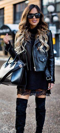 #winter #fashion /  Black Leather Jacket / Black Leather Tote Bag / Black Velvet OTK Boots / Black Lace Dress