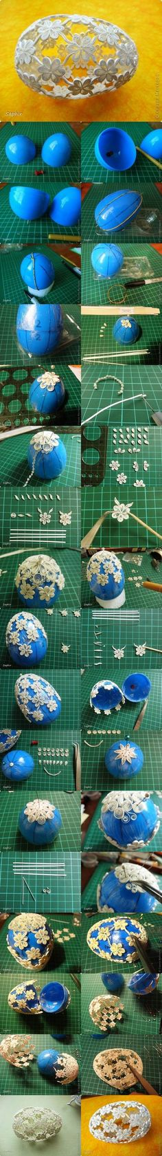 The effect of the quilling flowers in an egg shape is really special. This is a fantastic project to DIY Easter egg with Quilling Flower Decoration. Quilling Tutorial, Diy Quilling, Quilling Paper Craft, Quilling Patterns, Quilling Designs, Quilling Instructions, Egg Crafts, Easter Crafts, Easter Ideas