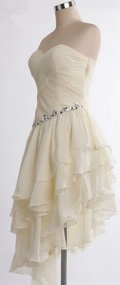Adorable Ivory Asymmetrical Prom Gown Prom Dress Homecoming Dresses Graduation Dresses