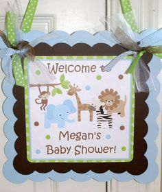 Safari Jungle Zoo Animal Baby Shower Banner by ThePartyPaperFairy, $20.00