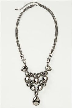 Noir Collection Metallic Bib Necklace and Earrings